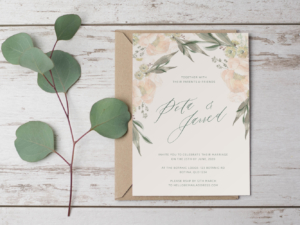DIY Printable Vintage Blush Peony & Eucalyptus Wedding Invitation Main Invitation | Save the Date | RSVP | Details | Calligraphy Script