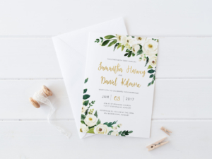 DIY Printable White, Green and Gold Watercolour Floral Wedding Invitation | Main Invitation | Details | RSVP | Save the Date | Info
