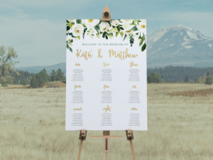 DIY Printable White Floral Wedding Seating Plan | Watercolour Floral Calligraphy | Gold | Seating Chart | Table Chart | Rustic Vintage