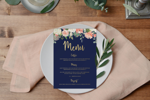 Peach floral wedding menu by Paper Alphabet invitations