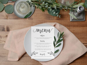 Rustic Hand Drawn wedding menu design by Paper Alphabet Wedding Invitations - Sunshine Coast and Brisbane
