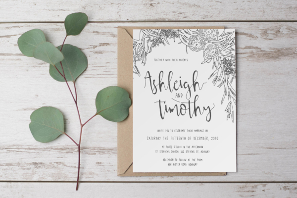 hand drawn rustic floral wedding invitation by paper alphabet invitations sunshine coast brisbane